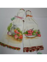 Hand-Painted Kitchen Cloth with Hanging Rings